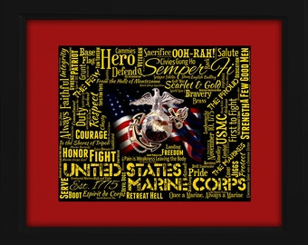 US Marine Corp Framed 16x20 Art Piece - Beautifully matted and framed behind glass