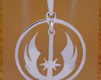 Solid 925 Sterling Silver Star Wars Jedi Pendant Rebel Alliance Galactic Force Empire Luke Skywalker Darth Vader Impressive Vintage Design