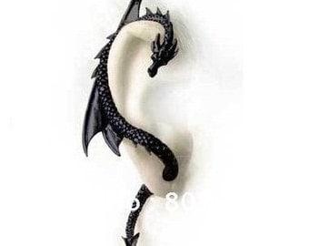 Dragon earring cuff Black gift