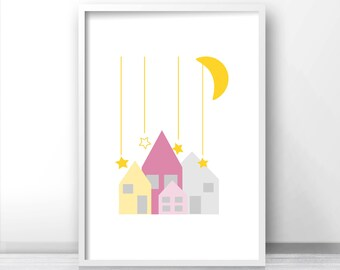 Nursery art, Moon and stars nursery wall art, Baby girl nursery wall art,  Little houses nursery printables, Nursery print, Girls room print