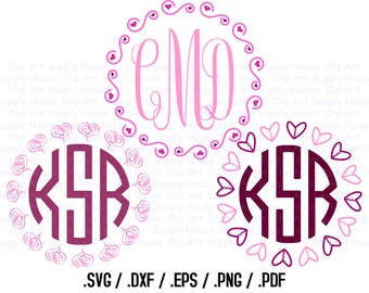 Heart Circle Monogram Frame Design Files, Use With Silhouette Software, DXF Files, SVG Font, EPS File, Svg Font, Silhouette - CA362