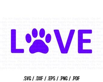 Animal Pet Love SVG Clipart, SVG Office Wall Art, Pet SVG File, Silhouette Studio, Cricut Design, Brother Scan Cut, Die Cut Machines - CA101