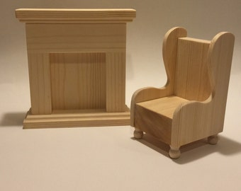 """Unfinished Doll Furniture - Fireplace and chair set - Great for dolls 10-12"""""""