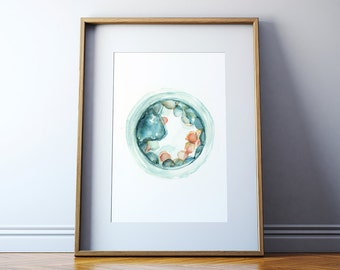 5-day Embryo Art Print - Embryology Watercolor Print - Fertility Doctor Art - OBGYN Painting