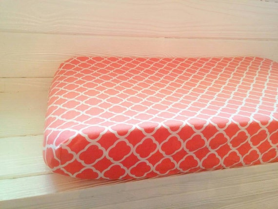 coral quatrefoil changing pad cover by thecoralelephant on etsy. Black Bedroom Furniture Sets. Home Design Ideas