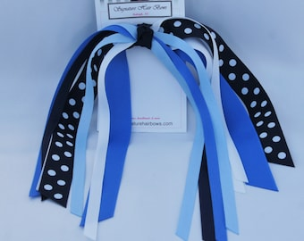 Made to Match School Uniform - Blues Ponytail Streamers