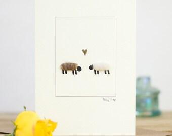 Sheep in Love Card, woolly sheep greeting card