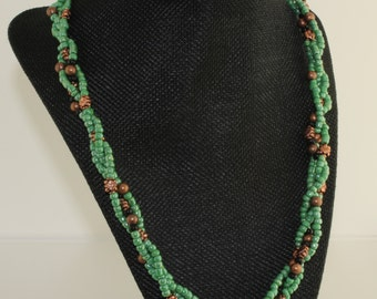 TwistedGreen and Copper Necklace