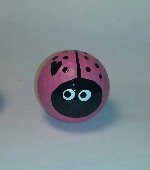 Ladybugs (Set of 2) Handpainted-Pink-Ladybug Garden-Golf Lover-Yard Art-Garden Accent-Think Pink-Lovebugs-Garden Decor