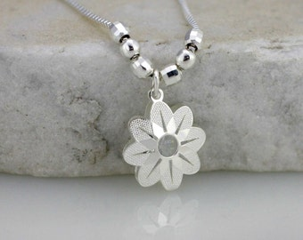 Sterling Silver Flower Filigree Necklace, Silver Small Flower Necklace, Flower With Cz Necklace, Modern Necklace, Bride Jewelry, Valentine
