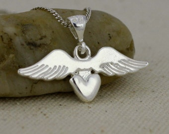 Sterling Silver Heart with Wing Necklace, Silver Winged heart necklace, In Memory Heart with Wings, Silver Heart Necklace, Silver Wings