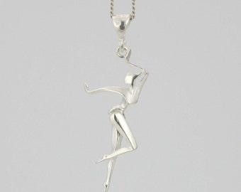 Sterling Silver Dancer Necklace, Sterling Silver Ballet Necklace, Silver Ballerina  Necklace, Dance Recital Gift, Silver Tap Dancer Necklace