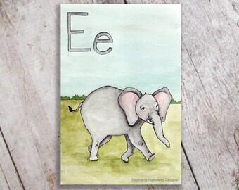 E is for Elephant Art Print Nursery Decor