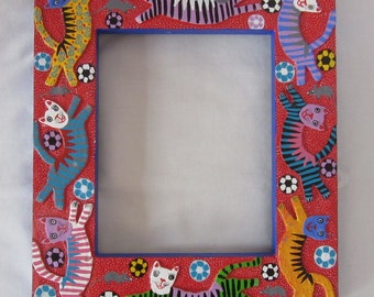 Colorful wooden cat frame from Oaxaca