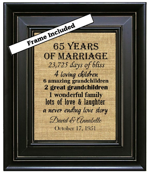 FRAMED 65th Wedding Anniversary Gift/65th Anniversary Gifts/65 years ...