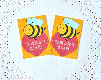Printable Mini Bee Valentine's Cards: do it yourself digital tags, print and cut, bee mine, will you bee my valentine, heart- LRD009V