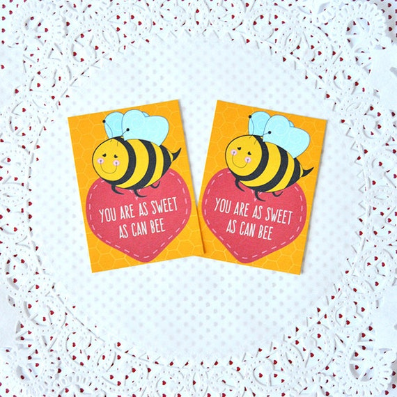 Printable Mini Bee Valentines Cards do it yourself digital tags – Bee My Valentine Card