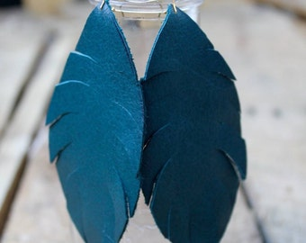 Blue leather feather earrings