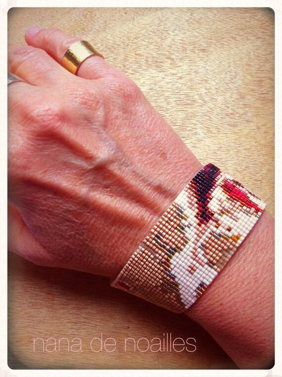 Bracelet Manchette  Perles de rocailles Miyuki Tissées / collection laminaires