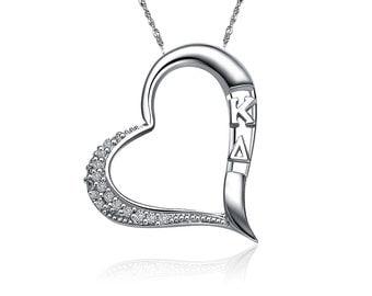 Kappa Delta Lavalier - Embedded Heart Design Sterling Silver (KD-P004)