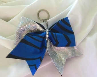 Keychain Cheer Bow - Royal Blue and Black Zebra/Silver