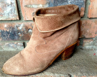 Vintage 1970's Suede Ankle Boots/made in italy/size 6.5/