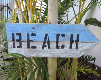 Beach sign, coastal decor, blue and white sign, nautical style home decor