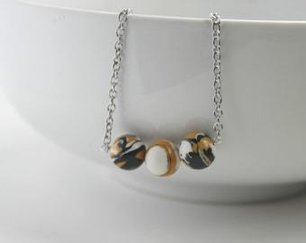 Halloween Bead Necklace // Halloween Necklace // Black, Orange, White Bead Necklace // Halloween Beads // Bead Necklace