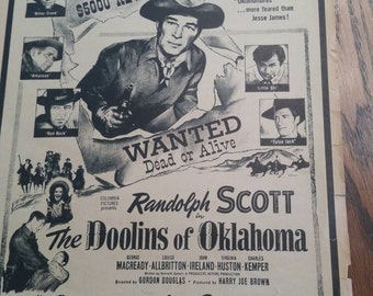 Western Movie Flyer Randolph Scott The Doolins of Oklahoma 1949