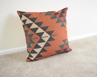 Kilim/Tribal/Geometric Cotton Linen Cushion/Pillow Cover in 18 x 18""