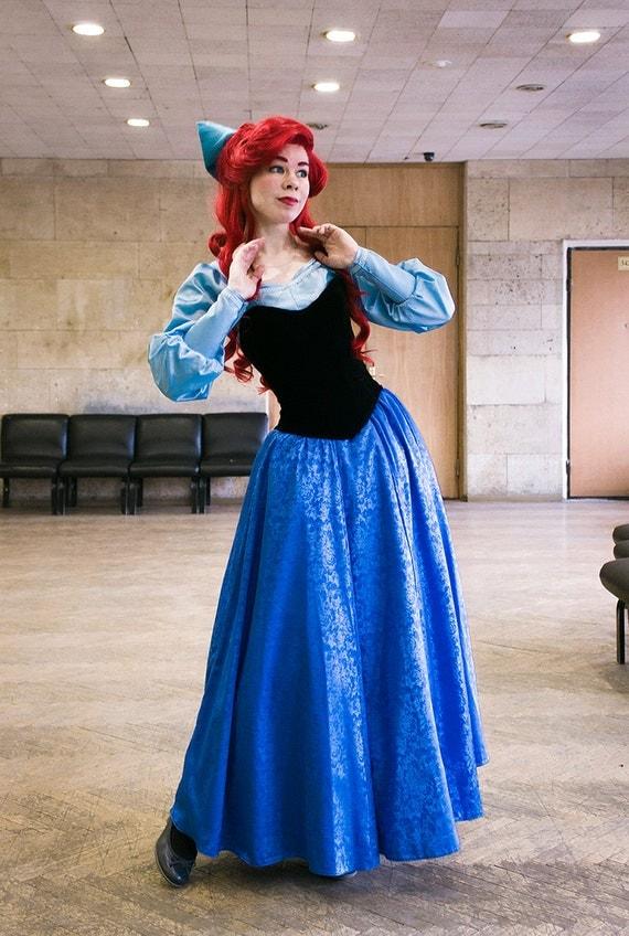 ariel blue dress cosplay disney princess halloween costume for. Black Bedroom Furniture Sets. Home Design Ideas