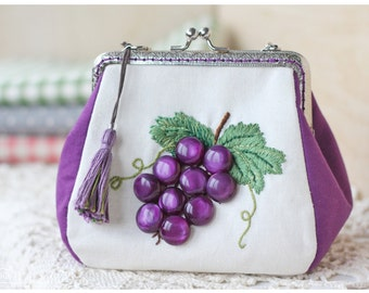 Small handbag with embroidered Grapes (and buttons) / cosmetic bag / kiss clasp purse