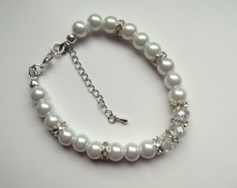 Pearl Bracelet, Pearl and Rhinestone,crystal Jewelry, White Bridal Jewelry, Bridesmaids Bracelet.