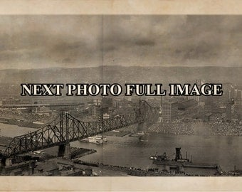 "1908 Pittsburgh PA Vintage Panoramic Photograph Panorama Sepia 35"" Long"