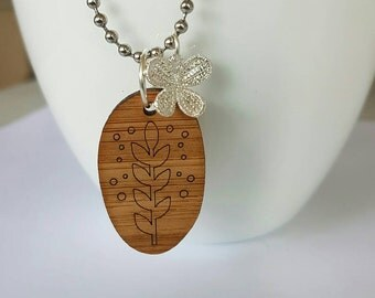 Bamboo and silver pendant necklace.