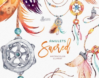 Sacred Amulets. Tribal Watercolor Clipart. Fang, tooth, beads, diy, boho, mascot, talisman, native american indian