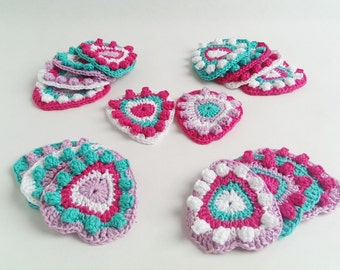 Crochet Garland Pattern of Hearts, Wallhanging, Bunting, Home Decor, Nursery Room, Keyring, Brooche