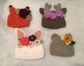 Wildflower hat crochet pattern - complete collection