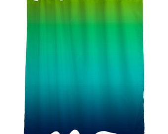 "Lime Green Aqua Blue Ombre Shower Curtain / OMBRE / Bright / Bath Curtain/ Standard Length /(71""x74"") Made To Order"