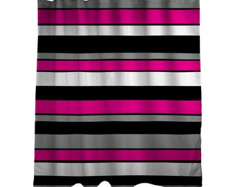 "Shower Curtain/ Hot Pink, Black, White, Grey / Made to Order / Bath Curtain/Standard Length (71""x74"")"