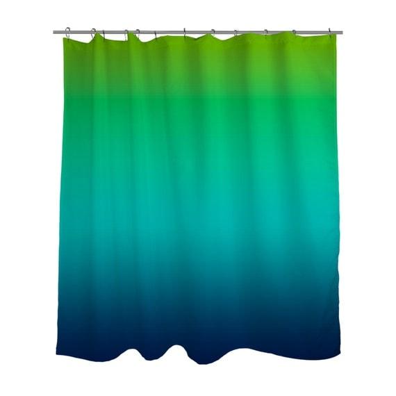 Lime Green Aqua Blue Ombre Shower Curtain Ombre Bright