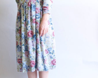 80s Long Sleeved FLORAL Cotton Dress / OVERSIZED M L Medium Large