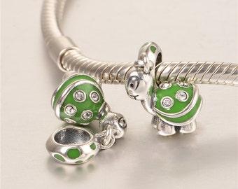 sterling silver charm for bracelets fits authentic pandora and european bracelets tortoise