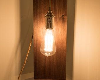 Rustic Modern Walnut Table Lamp with Mustard Yellow Cloth Cord