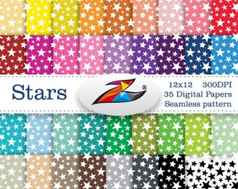 Sale Seamless patterns star digital paper Commerical Use star background Rainbow digital paper Scrapbook paper instant download
