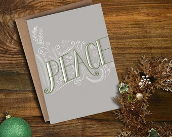 "Christmas/Holiday card - ""Peace"" hand-lettered"