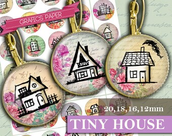 Home  Houses Round Digital Collage Sheet 20mm 18mm 16mm 12mm Circles images Instant Download magnets scrapbook Earring Cufflink- td372P