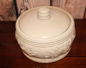 1940's Set of Large Pottery jar Canister with extra Large Bowl