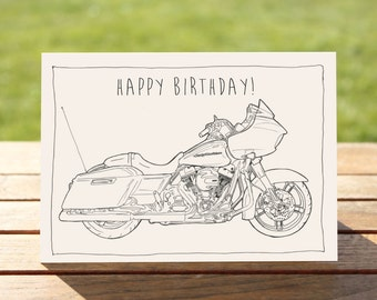 "Motorcycle Birthday Card, Harley Davidson Road Glide B&W Drawing | A6 - 6"" x 4""  (103mm x 147mm) Motorbike Gift Card, Motorcycle Gift Card"