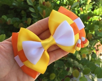 Candy Corn inspired hairbow